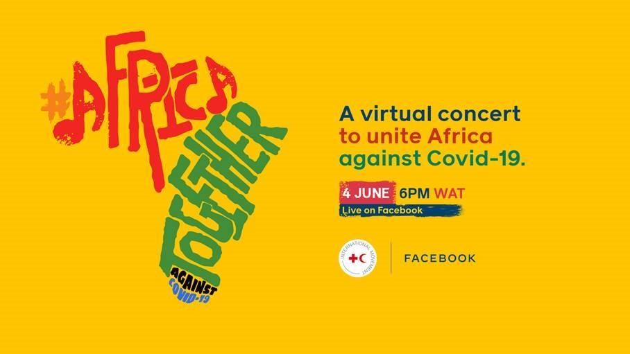 アフリカで6月4日、5日の二日間 (日本時間5日、6日)に開催される、コロナウイルス拡大防止を呼びかける目的で、著名なアーティストやエンターテイナーが参加するオンラインコンサート「Africa Together」の告知