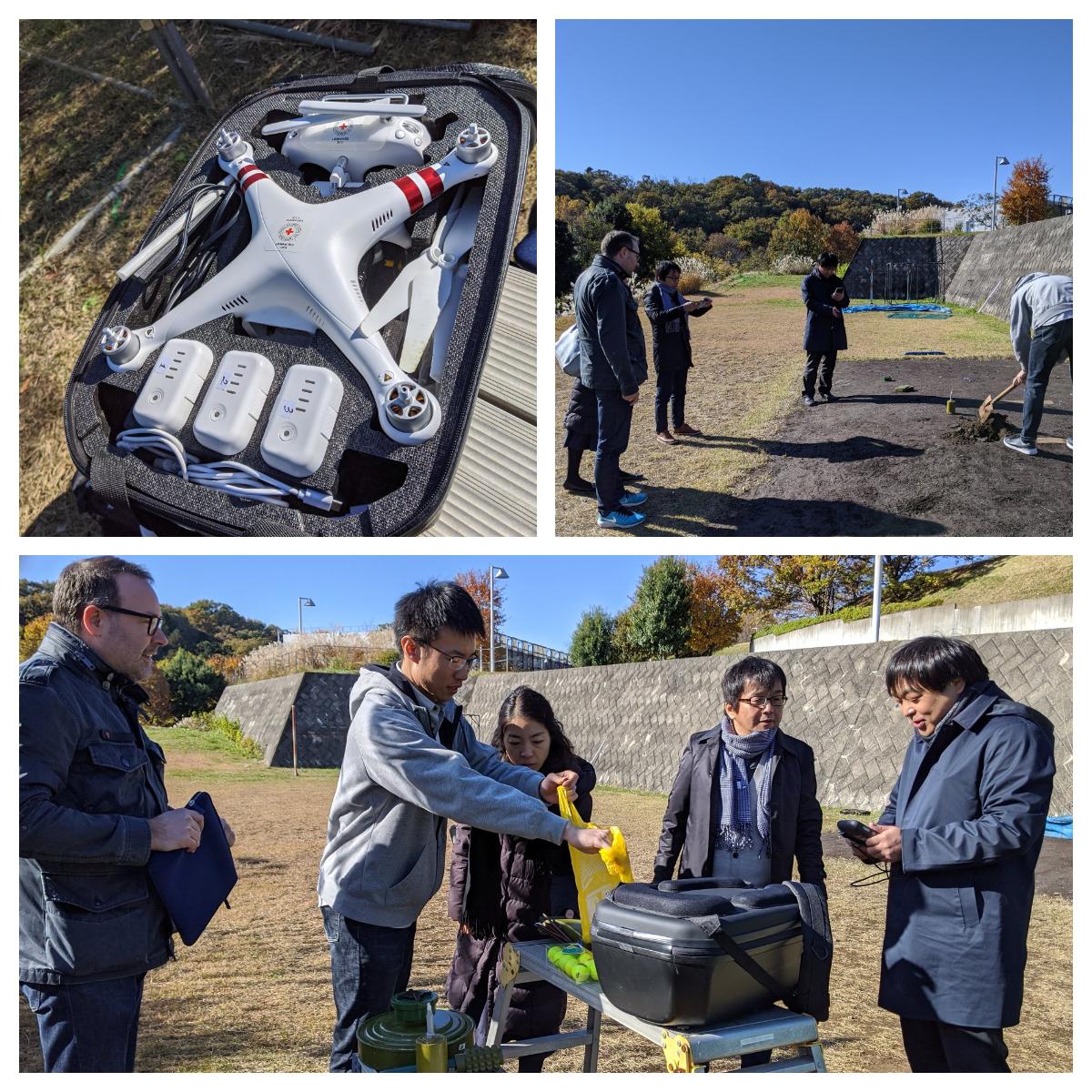 不発弾探知を目的とした赤外線カメラ搭載ドローンのテスト飛行を早稲田大学と実施