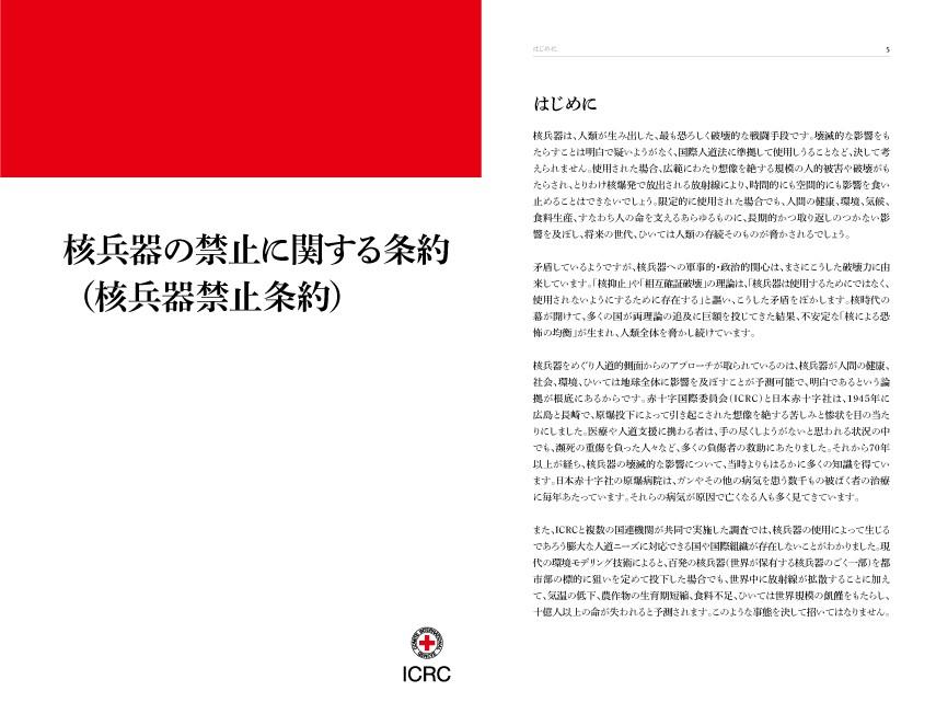 2021年1月22日発効の「核兵器の禁止に関する条約(核兵器禁止条約)」の条文冊子