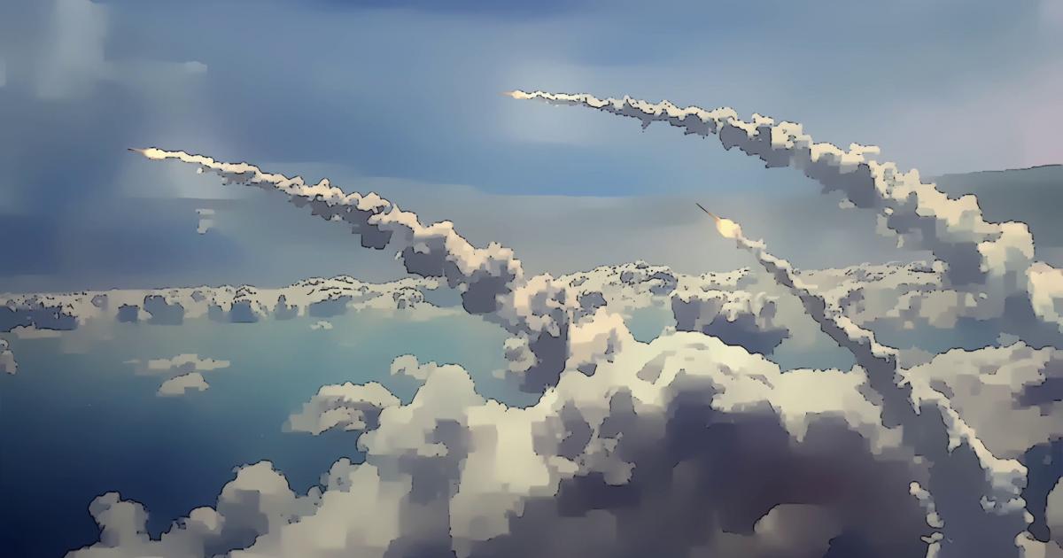戦闘機が飛んでいる空の絵