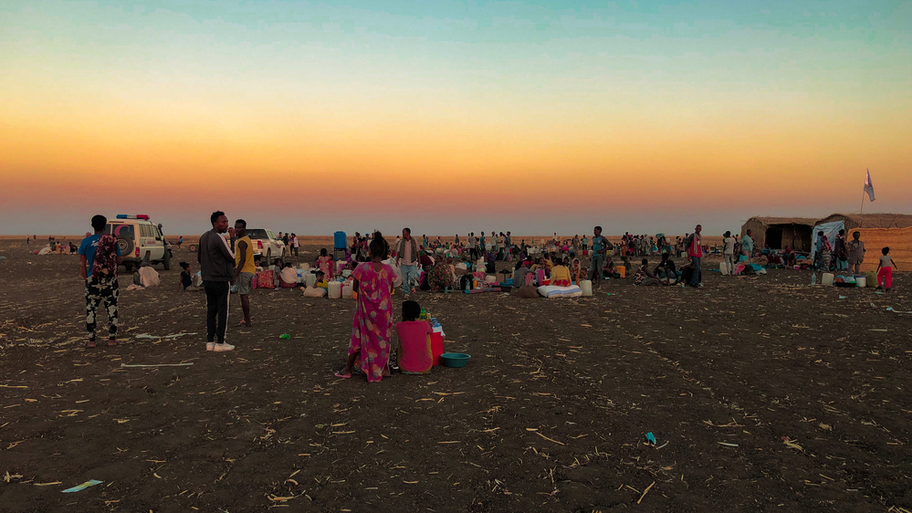 エチオピア北部ティグレ州での武力紛争から逃れ、隣国スーダンのアル・タニデバのキャンプに避難してきた難民